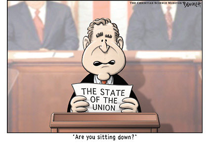 George Bush political cartoon - State of the Union 2007
