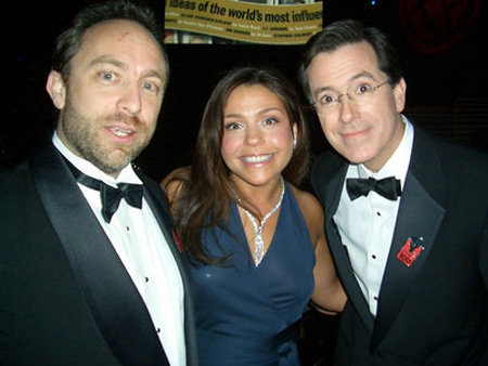 Jimmy Wales with Rachael Ray and Stephen Colbert | Courtesy: Craig Newmark