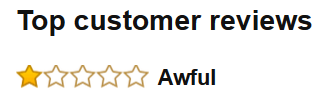 One star review - Awful