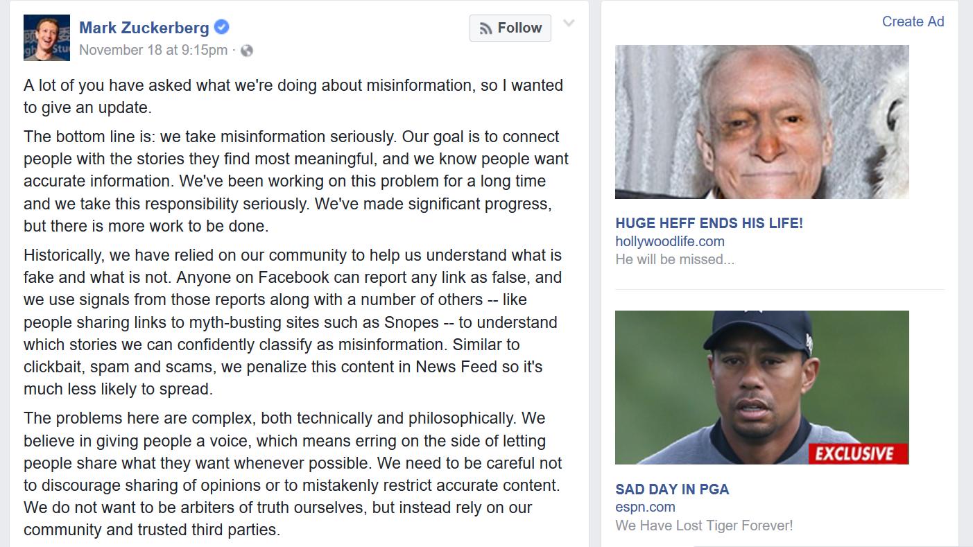 Fake ads on Mark Zuckerberg post
