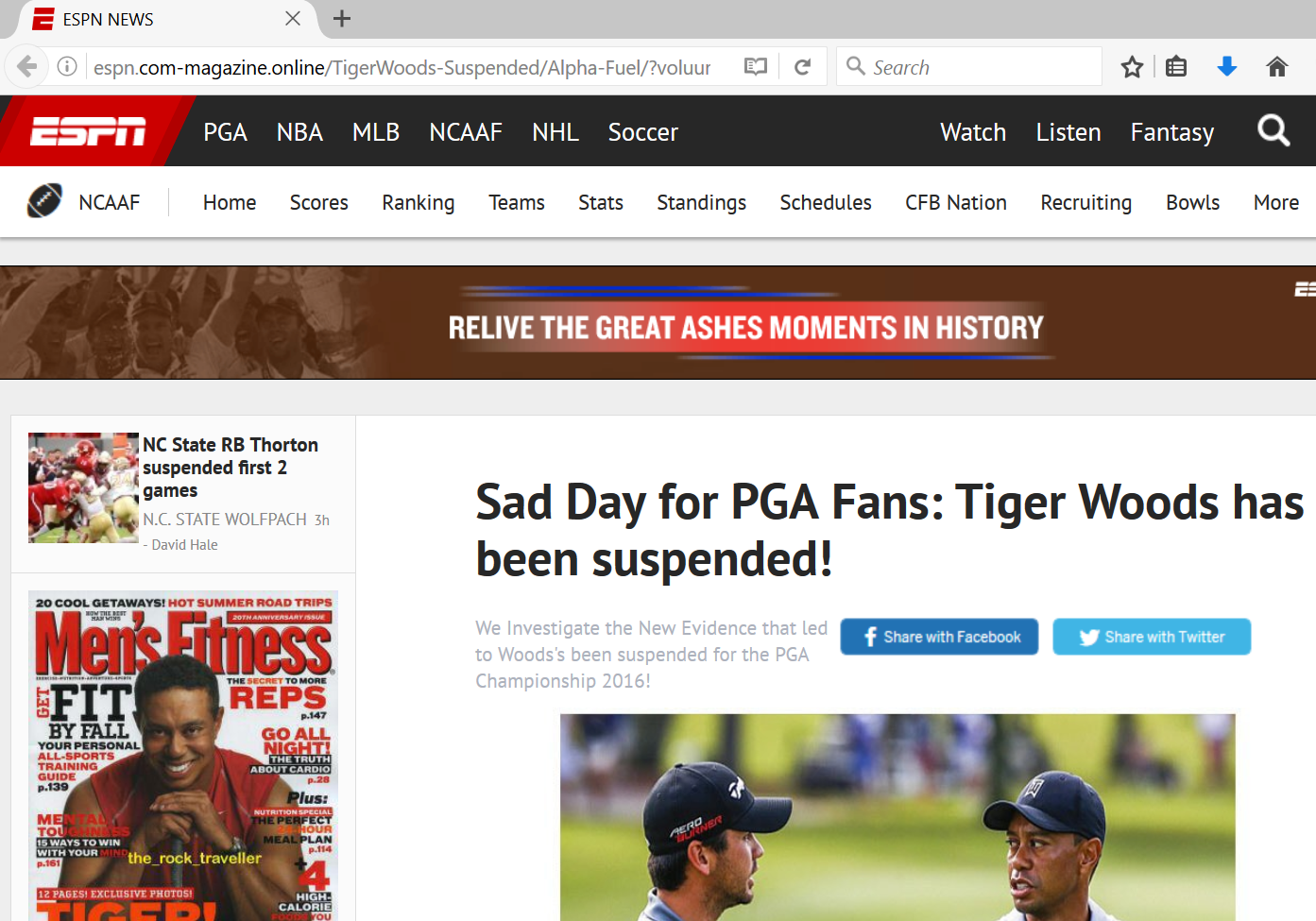 Fake Tiger Woods suspended site